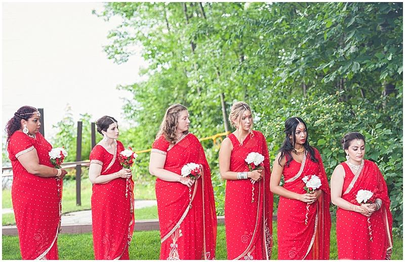 red sari bridesmaids