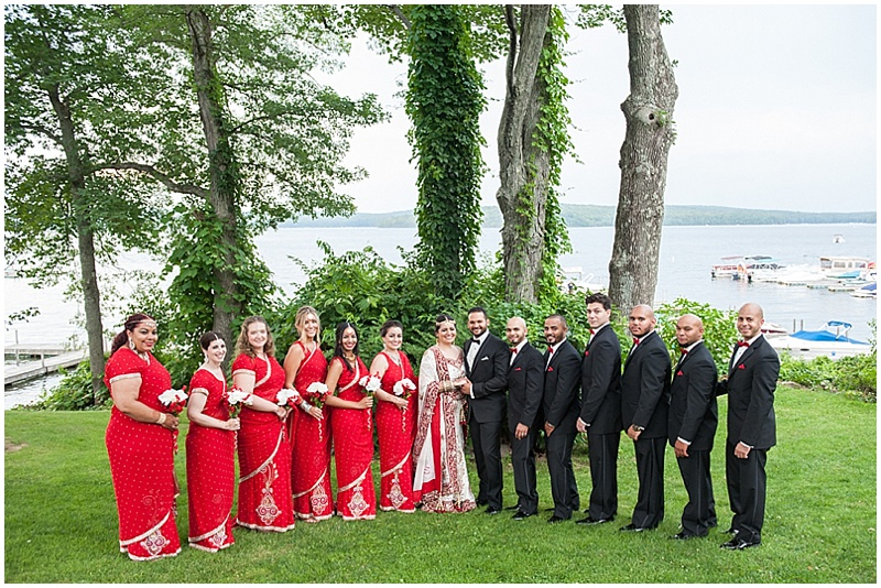 red and black wedding party attire