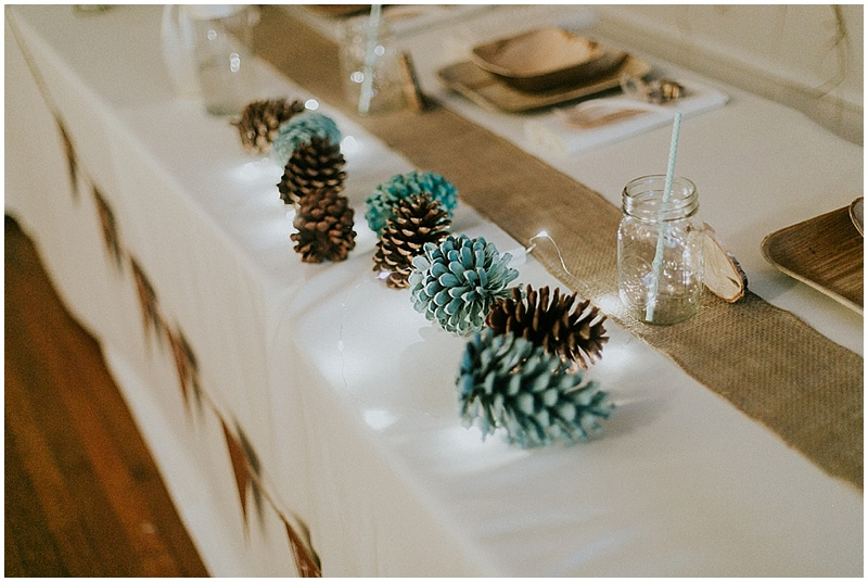 pinecone wedding decor - handmade florida wedding