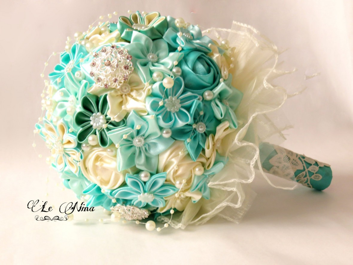 Fabric wedding bouquets from etsy satin wedding bouquet fabric bouquet junglespirit Gallery