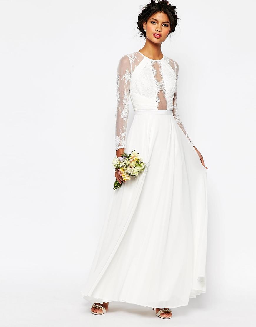 ASOS Bridal Lace Paneled Maxi Dress