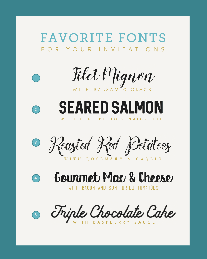 Five Font Pairings for your Wedding Menu | The Budget Savvy Bride