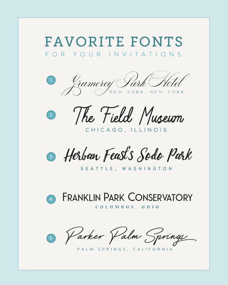 Five Font Pairings Inspired by Wedding Venues