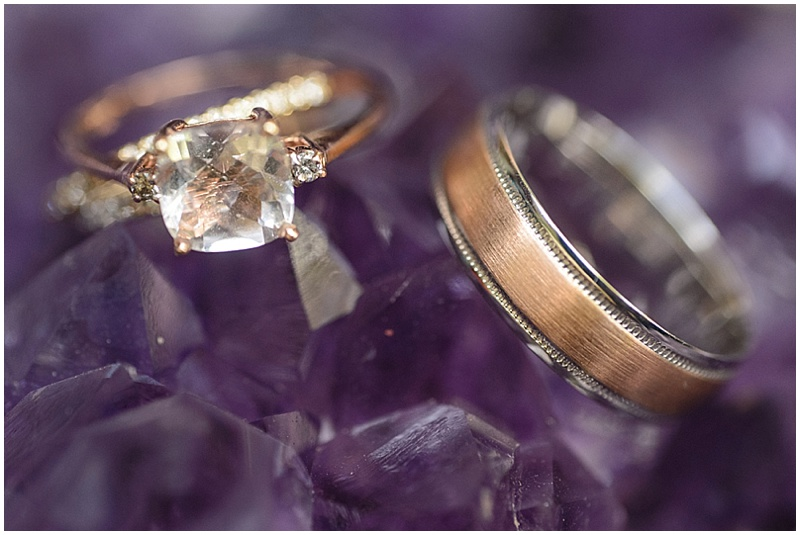silver and rose gold wedding rings