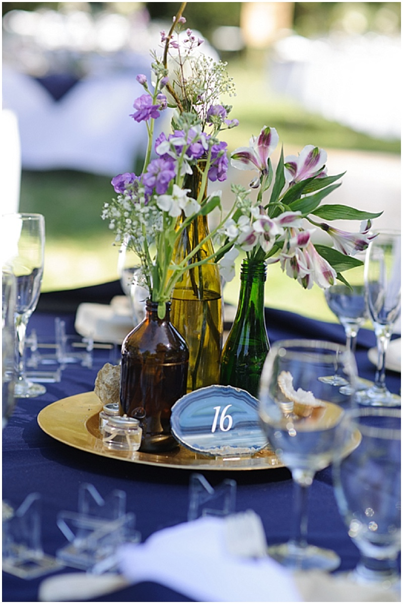 navy and purple reception decor