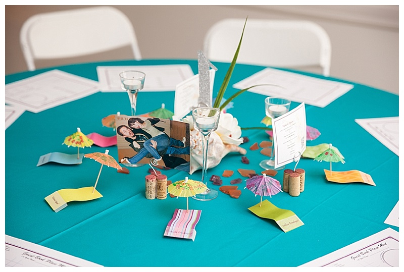 tropical themed reception decor