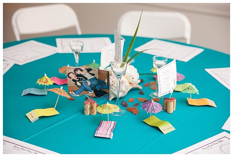 tropical themed reception decor