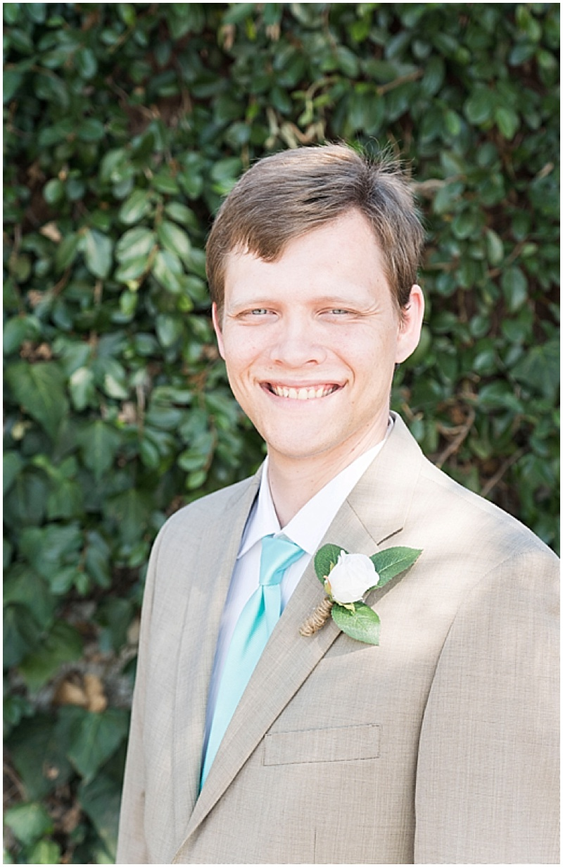 khaki and blue groom attire
