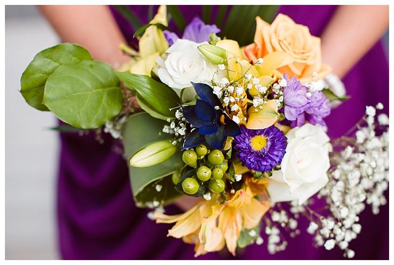 purple and orange bridal bouquet