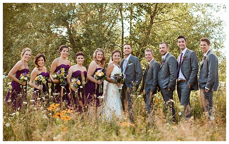 gray and purple wedding party