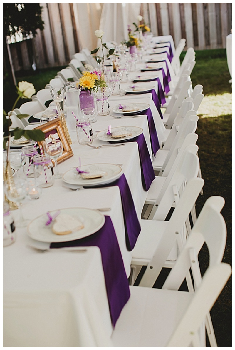 elegant white and purple table decor