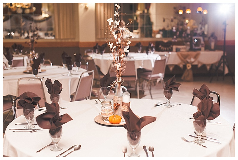 brown and autumn wedding reception decor