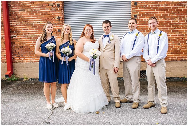 khaki and blue wedding attire