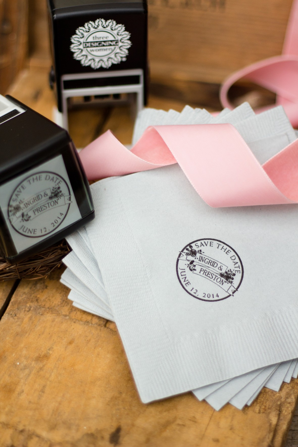 Three Designing Women Stamp Kit on Wedding Napkin