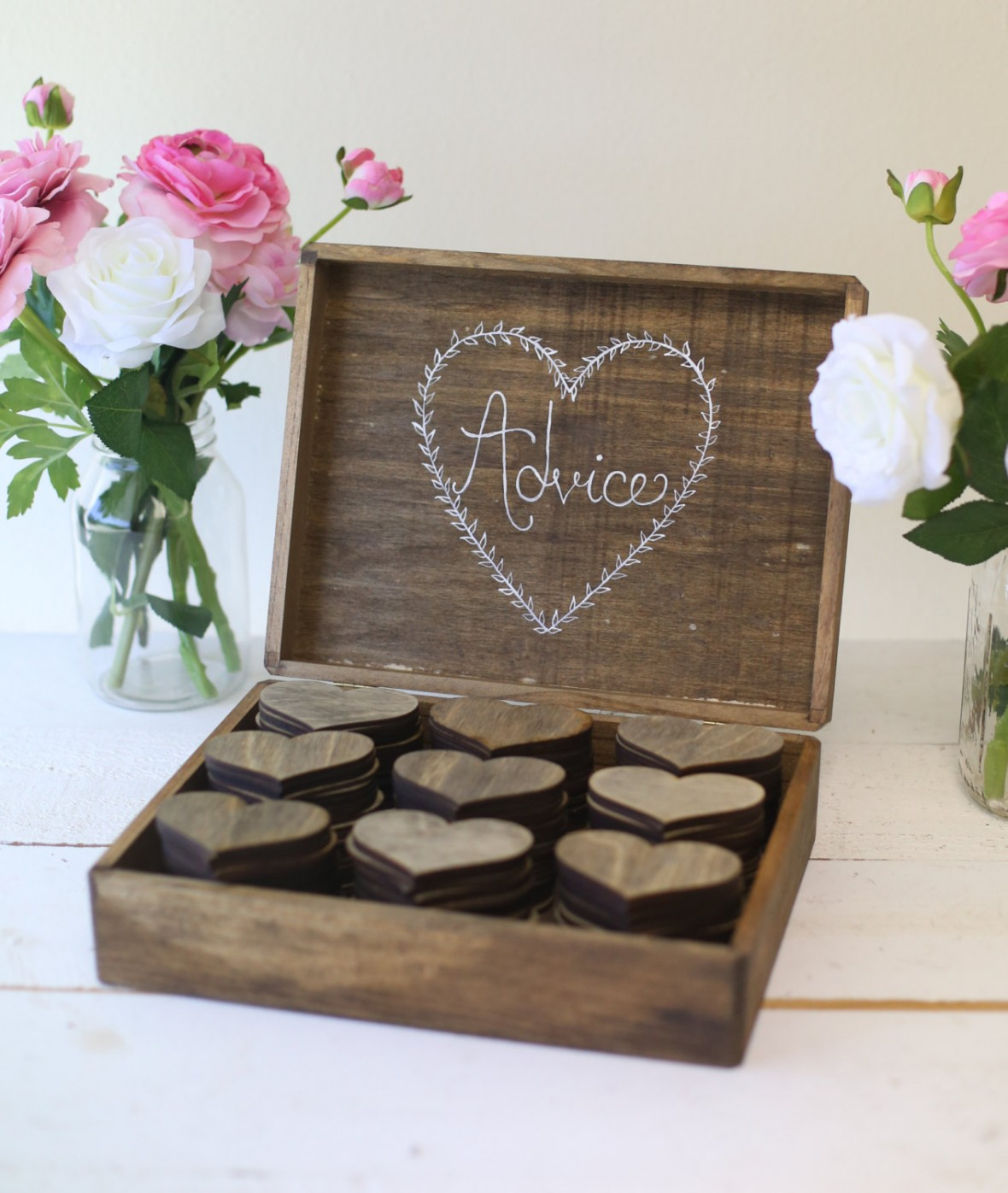 Wooden Hearts Advice Guest Book