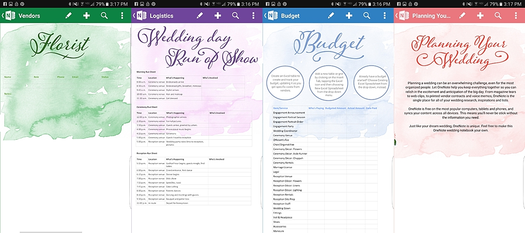 Wedding planning on the go the budget savvy bride onenote wedding planner doc junglespirit Gallery