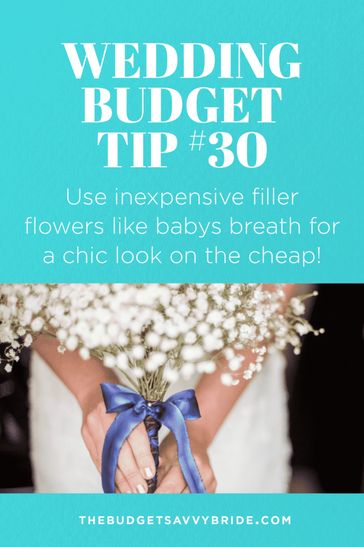 Wedding Budget Tip #30: Use inexpensive filler flowers like baby's breath for a chic look on the cheap!