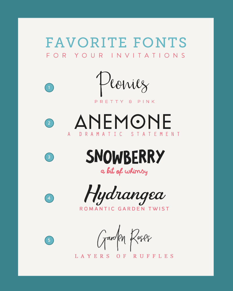 Font Pairings Inspired by Wedding Flowers | Budget Savvy Bride