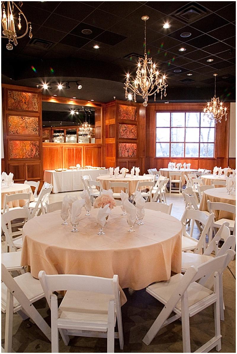 blush and white wedding reception decor