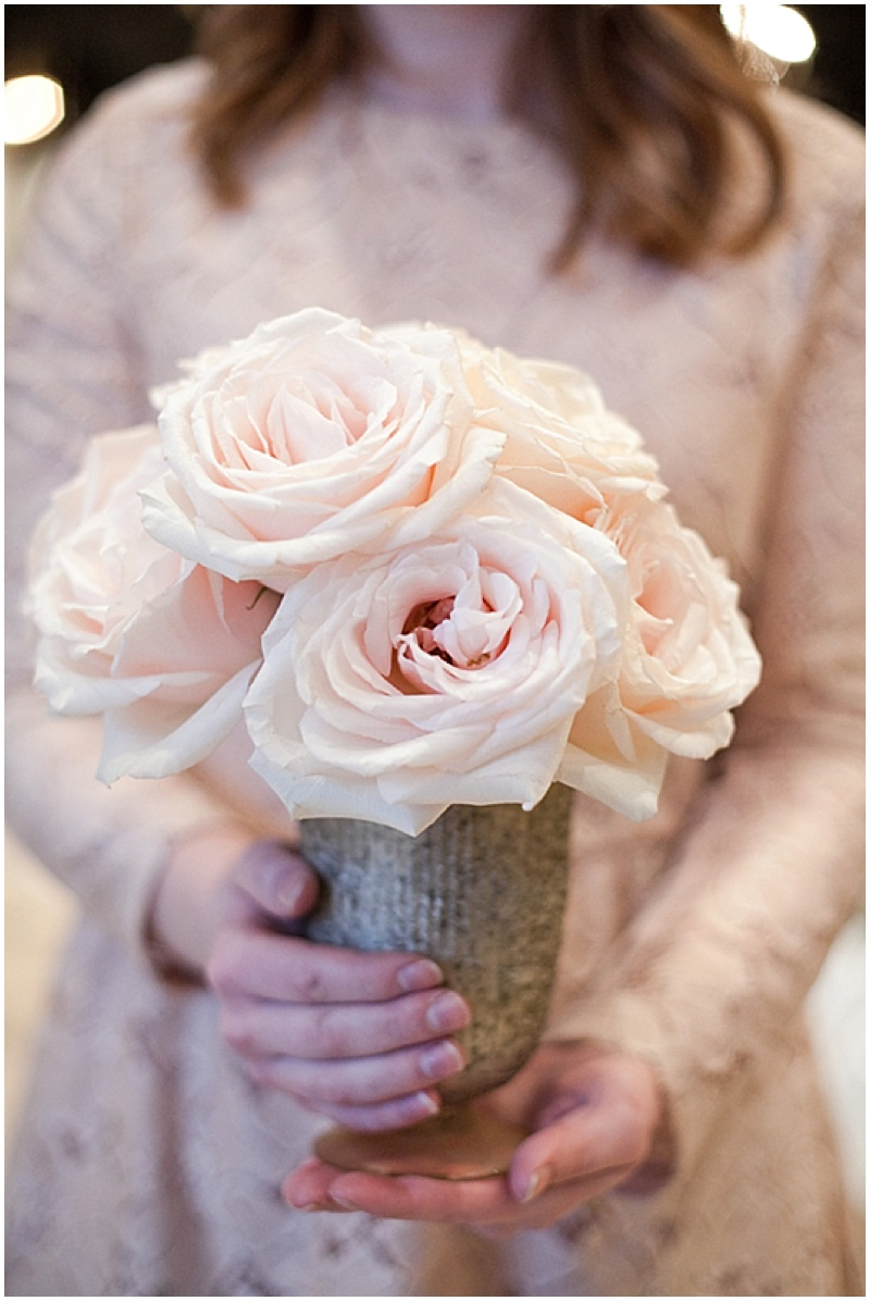 blush and white wedding reception decor