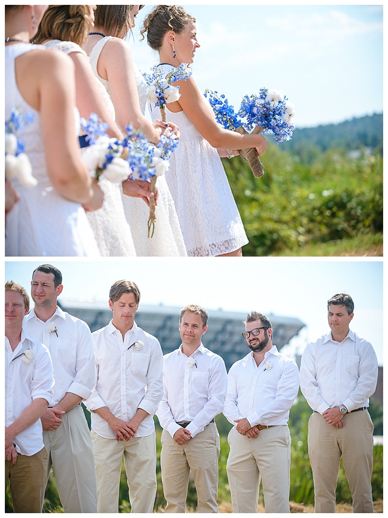 white bridesmaid attire