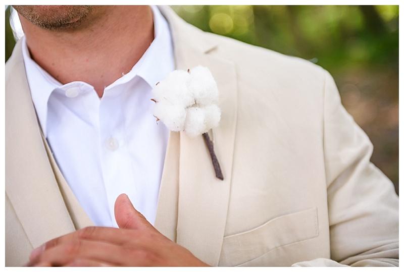 white and khaki wedding attire