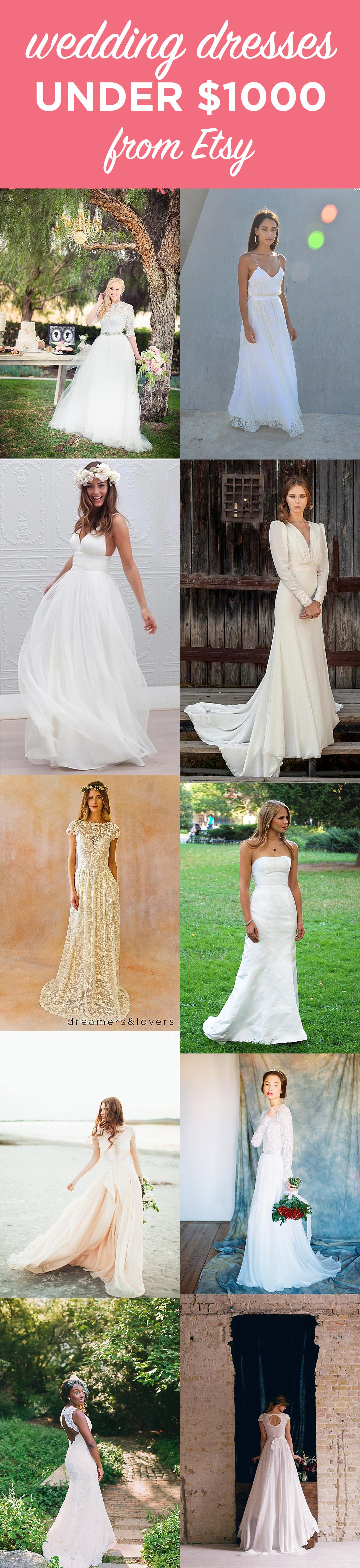Etsy Wedding Dress Options Under 1000