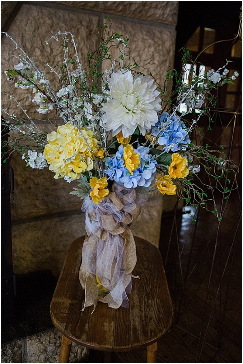 blue and yellow floral decor