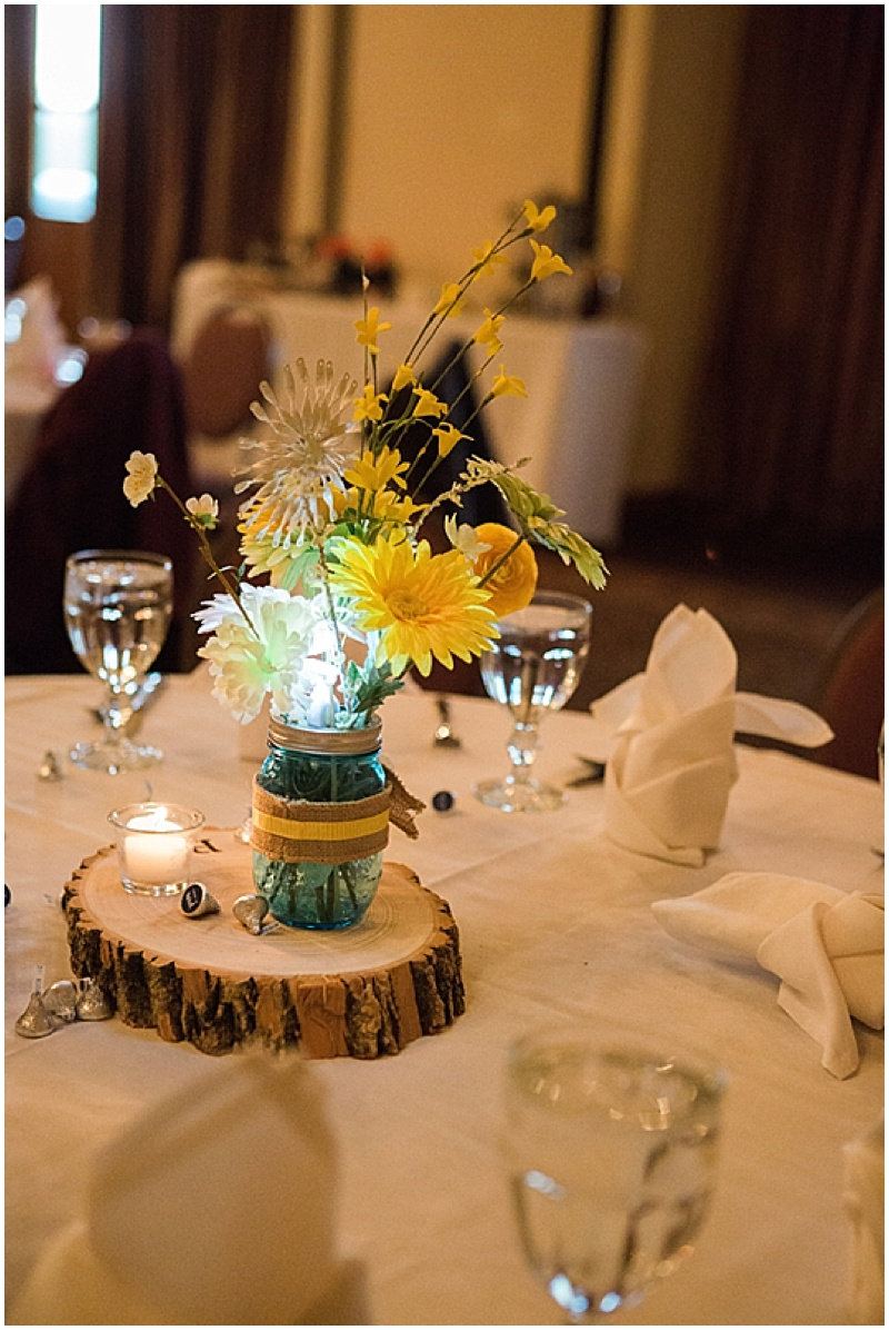 rustic blue and yellow wedding decor