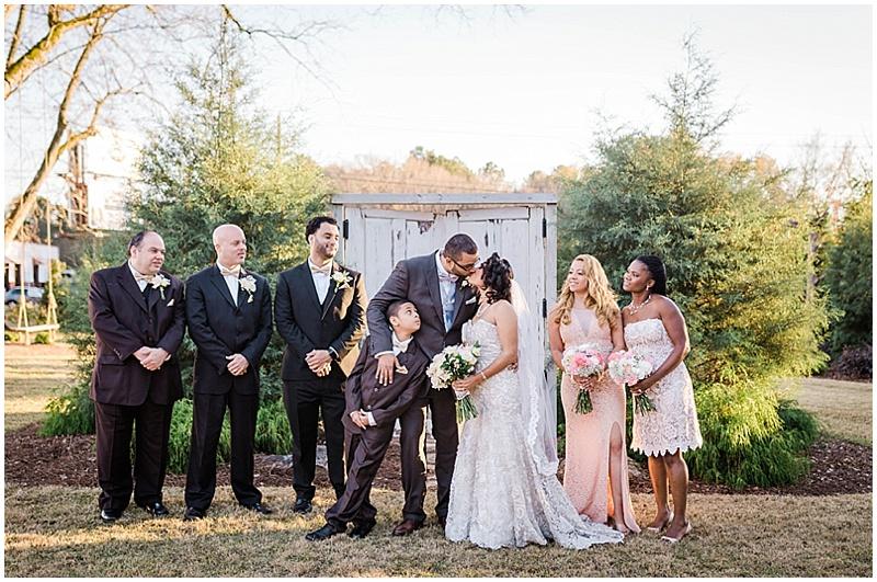 gray and blush wedding attire