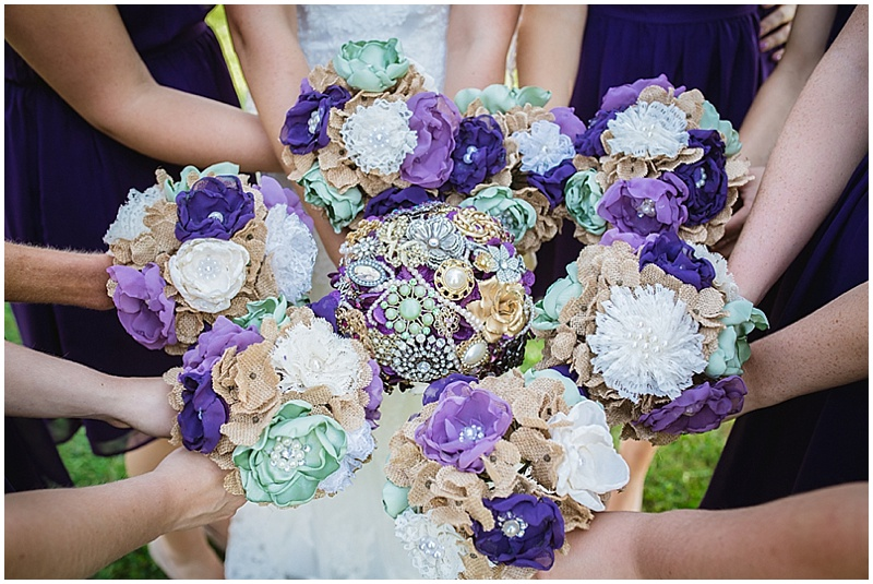 teal, purple wedding bouquets