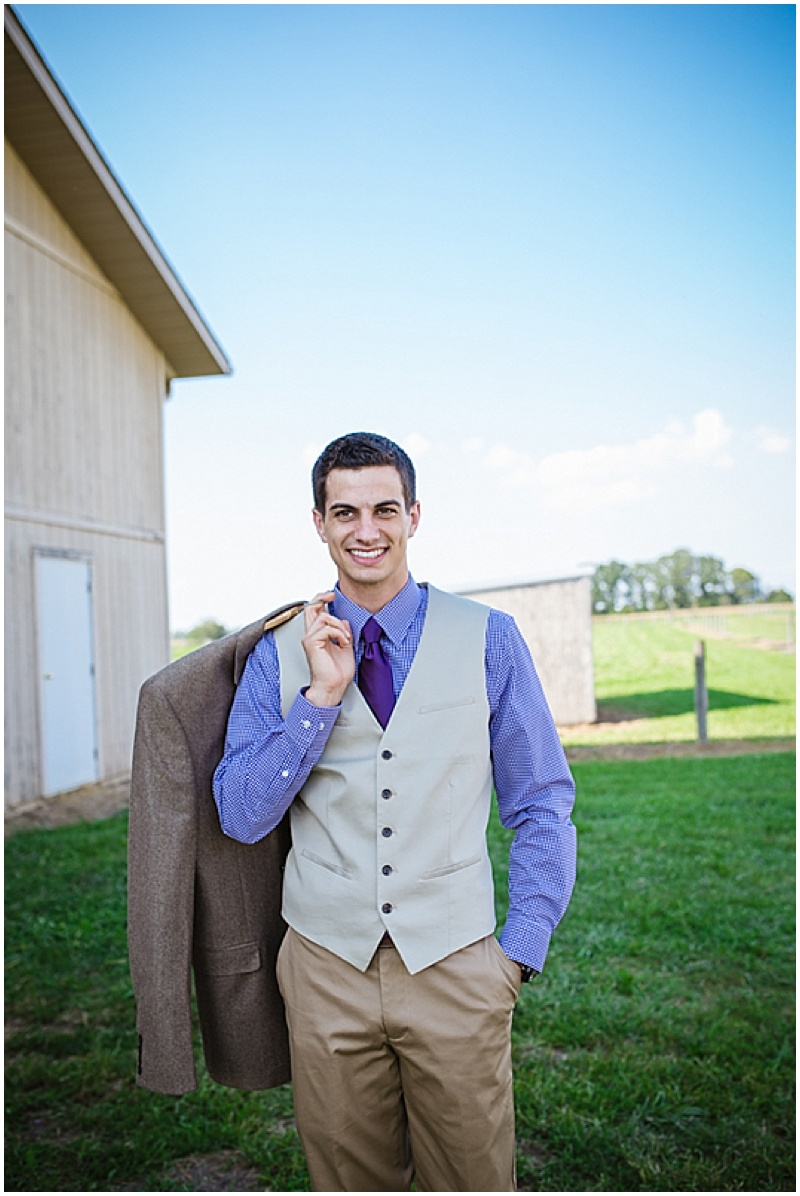 purple and khaki groom attire