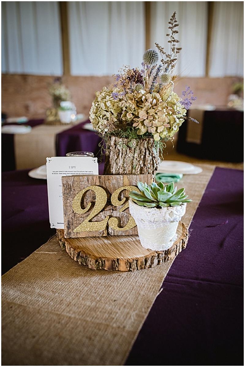 wood disc wedding centerpieces