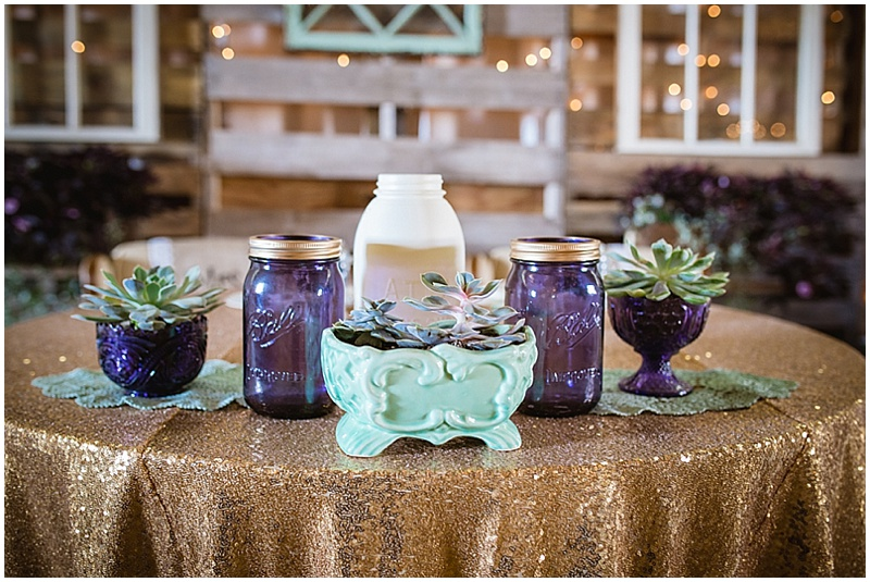aqua and purple wedding decor