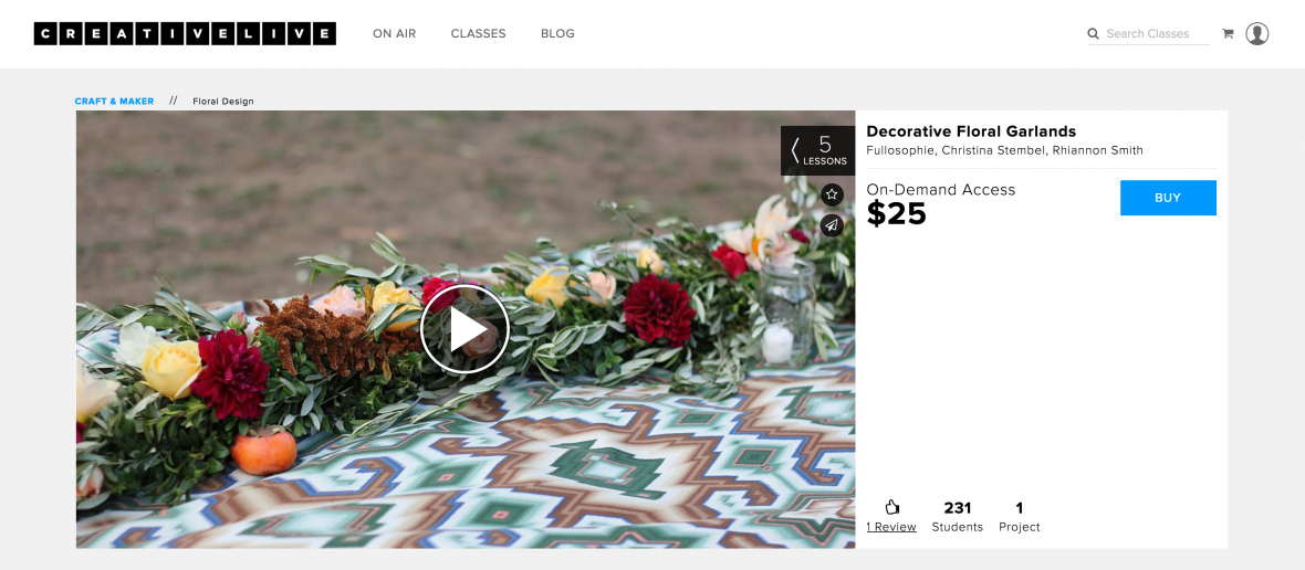 creativelive flower arranging class