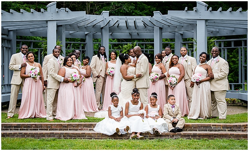 a surprise wedding with pink and white details the