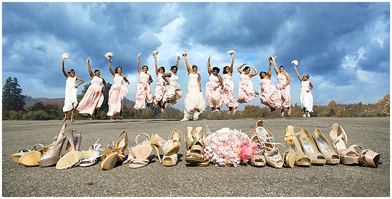 khaki and pink wedding attire