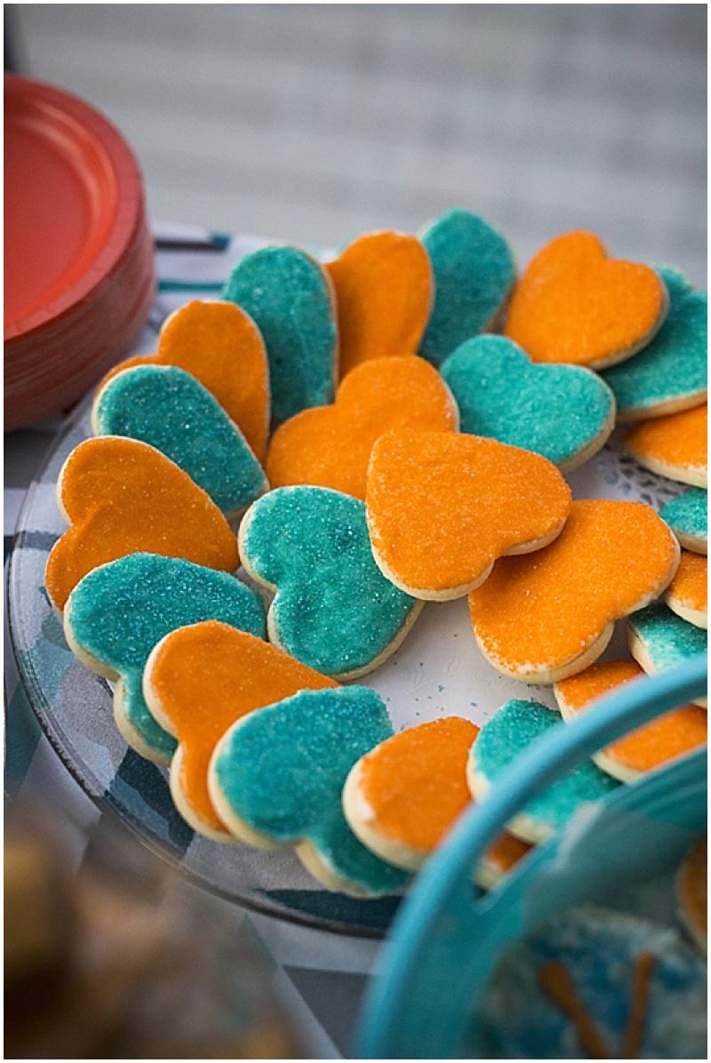 teal and orange wedding cookies