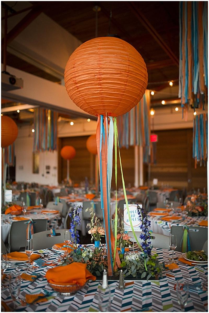 orange lantern reception decor