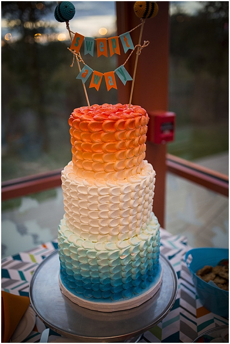 Wedding Reception Entrance Sweetheart Table Teal And Orange Ombre Cake