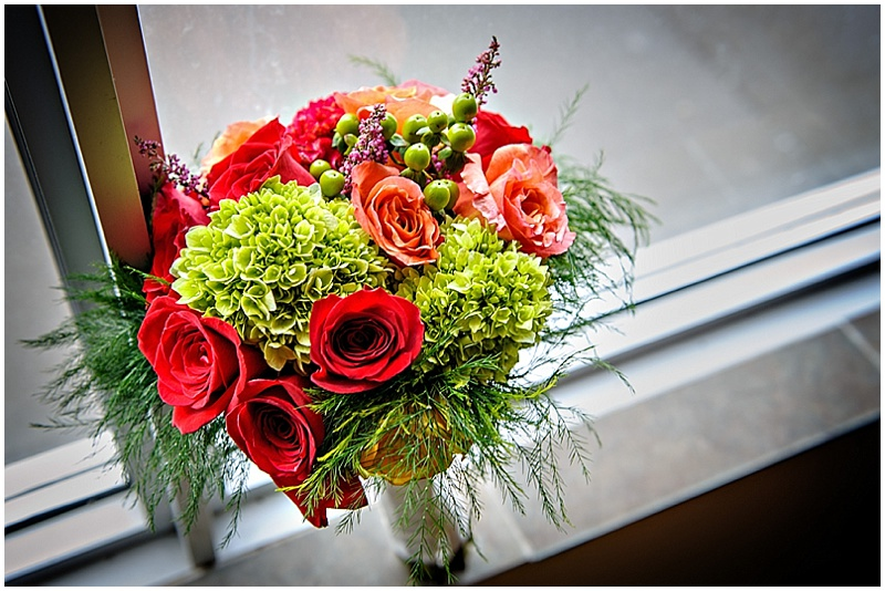 green, orange and red flowers