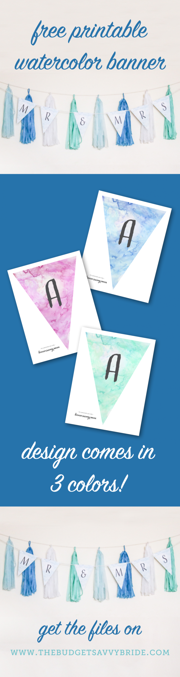 Download these ADORABLE watercolor banners! Free printable files from The Budget Savvy Bride!