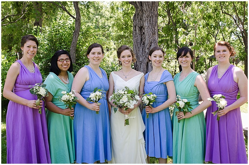 purple blue and mint bridesmaid dresses