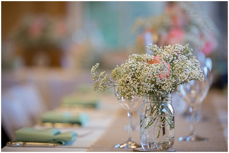 pink rose and baby's breath wedding flowers