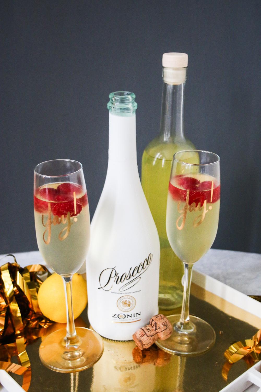 Lemon Raspberry Prosecco Cocktail featuring ZONIN Dress Code Prosecco