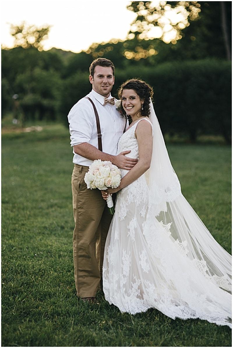 blush and khaki wedding attire
