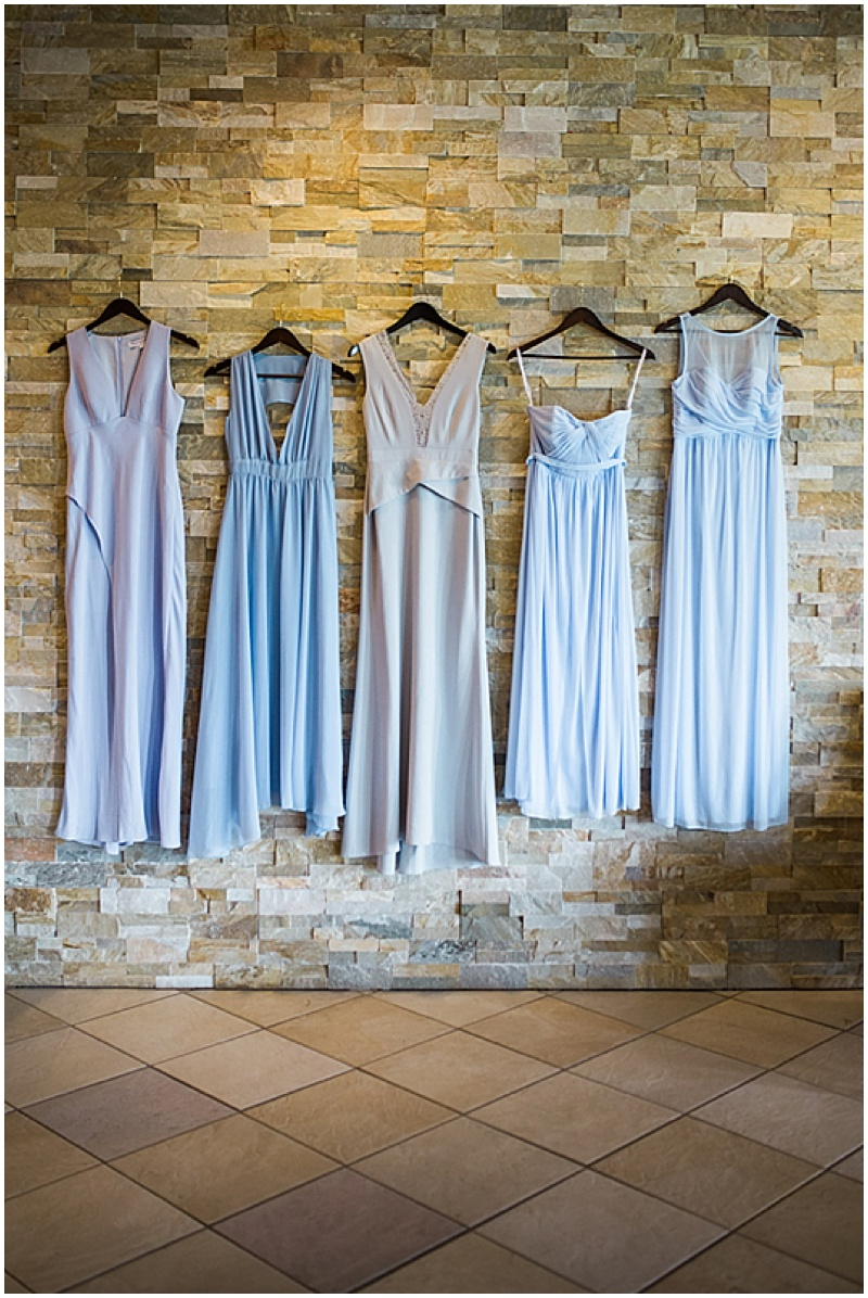 sky blue mismatched wedding dresses