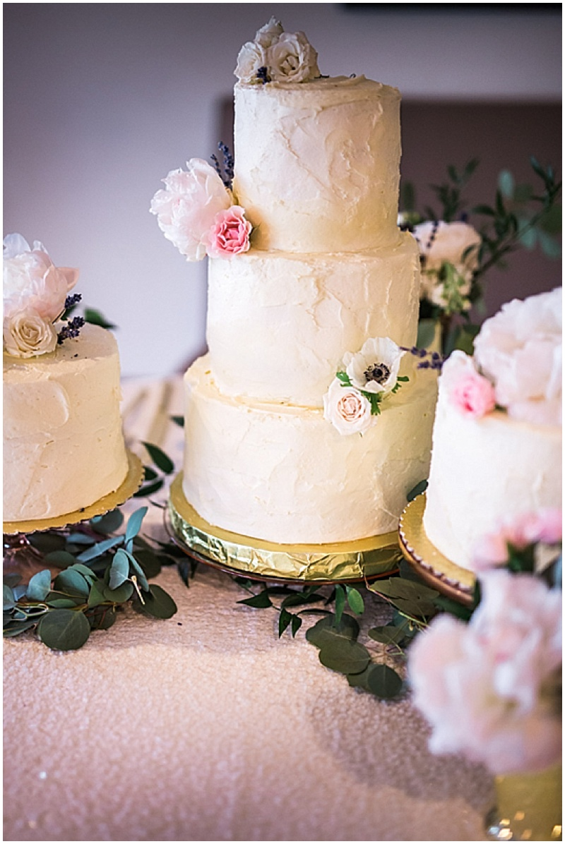 white shabby chic wedding cake