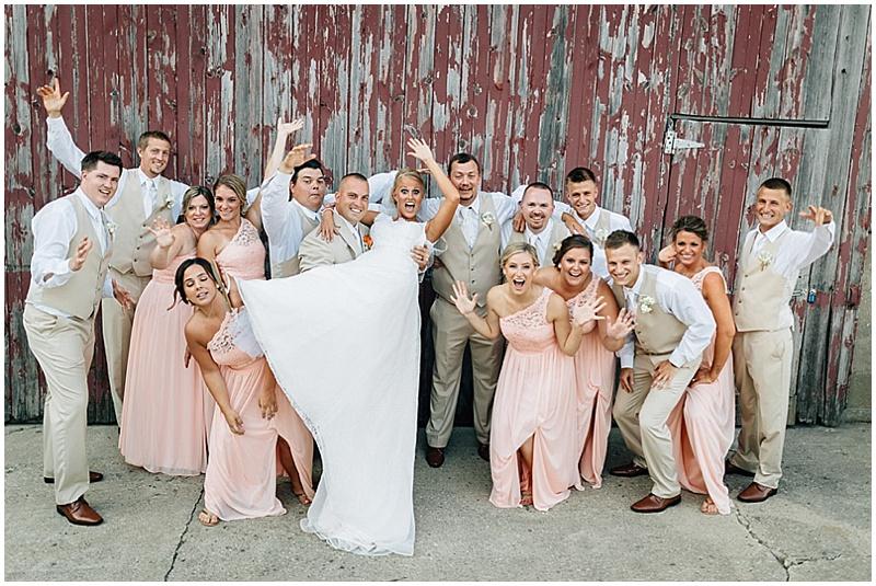 khaki and blush wedding party