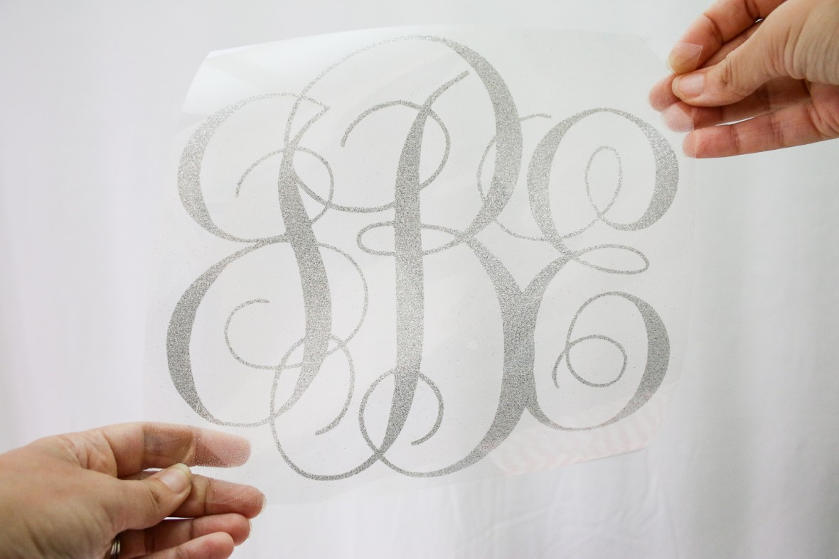 Silver Glitter Monogram Pillow